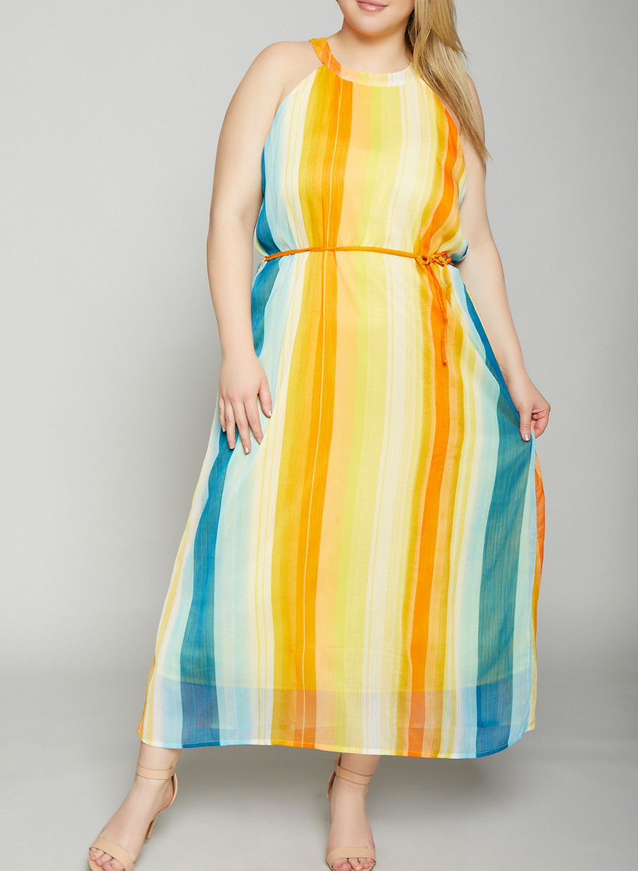 c5ac55ff3516ea Plus Size Striped Maxi Tank Dress - MUSTARD - Size 2X