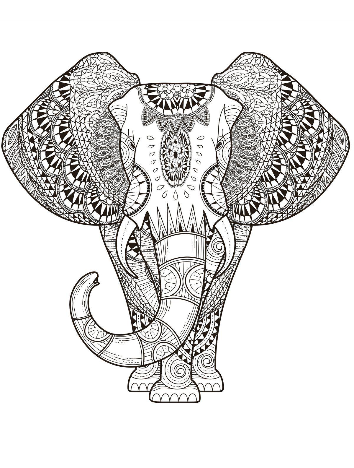 Raskraska Antistress Slon 색칠책 젠탱글 패턴 패턴