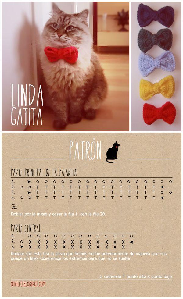 oh!villo: Pajarita de crochet para gatetes | k n i t | Pinterest ...