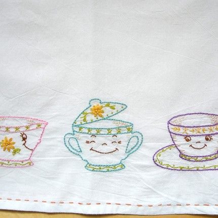 Vintageteatowelembroiderydesigns Tea Party Tea Towel From