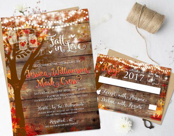 Rustic Fall Wedding Invitations Heart Carved Oak Tree Autumn Stationery Digital Printable Hanging Lights Mason Jar DIY