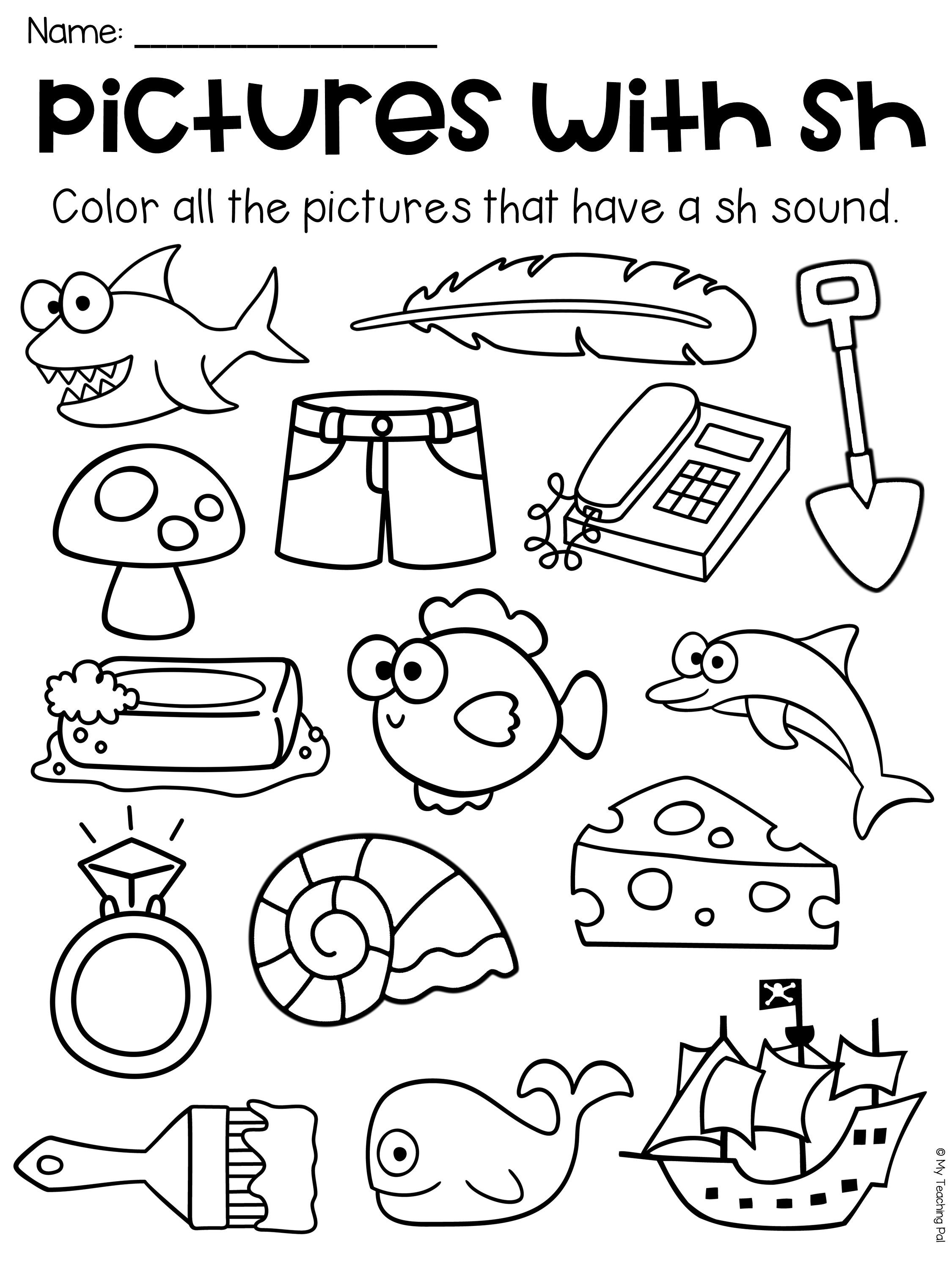 Sh Worksheets For Kindergarten
