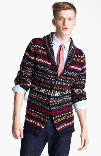 Topman Fair Isle Shawl Collar Cardigan available at #Nordstrom ...