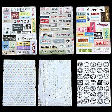 6 Piecs DIY papel Scrapbook Retro Matasellos Alphabet Stickers – EUR € 4.96 Link afiliado - Gastos de envío gratis