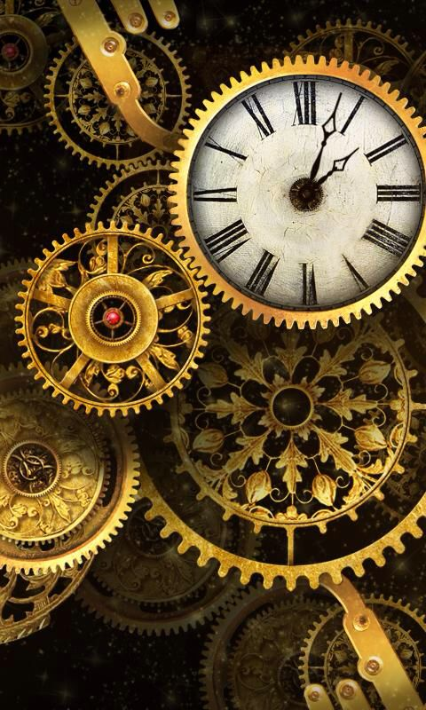 Clocks And Cogs Steampunk Clocks Cogs Phone Wallpaper Steampunk Wallpaper Gold Clock Steampunk Background
