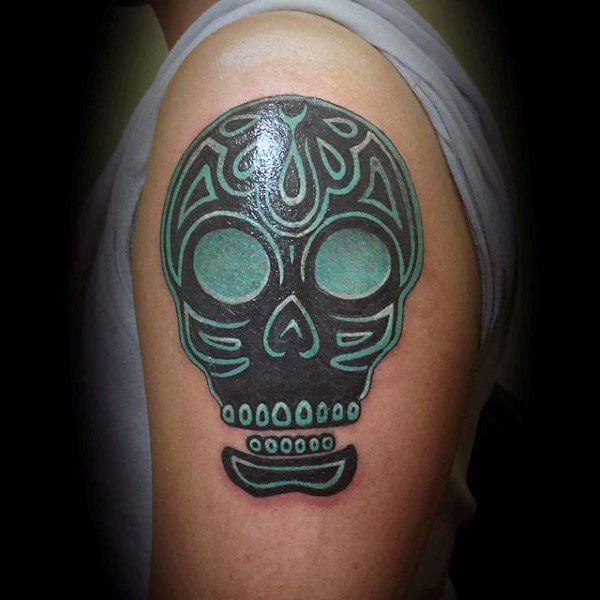 100 Sugar Skull Tattoo Designs For Men Cool Calavera Ink Ideas Tattoos For Guys Skull Tattoo Sugar Skull Tattoos