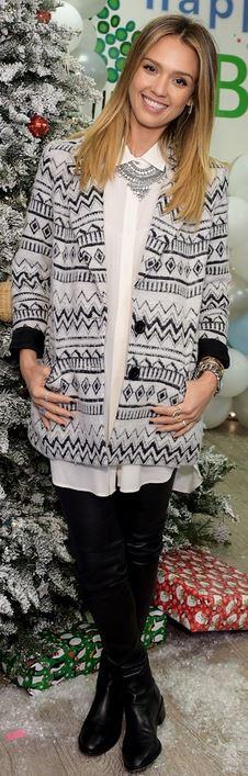 Love Black + Grey #Karen_Kane #Blazer #Jessica_Alba #Fashion
