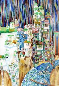 Мосиенко Инна Викторовна Акварель Город-ок Пейзаж Наивное искусство Бумага, акварель. 28х40 2010