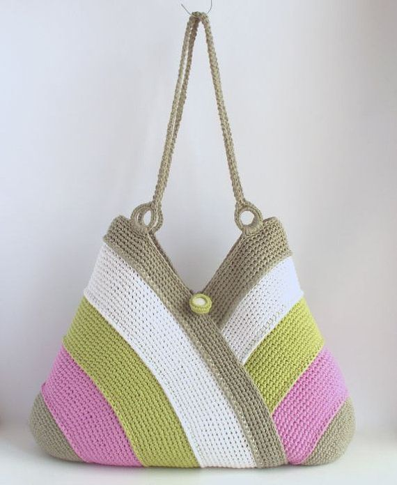 Colorful summer bag, beach bag, tote bag, hand crochet bag, cotton bag, white, grass green, violet, gray