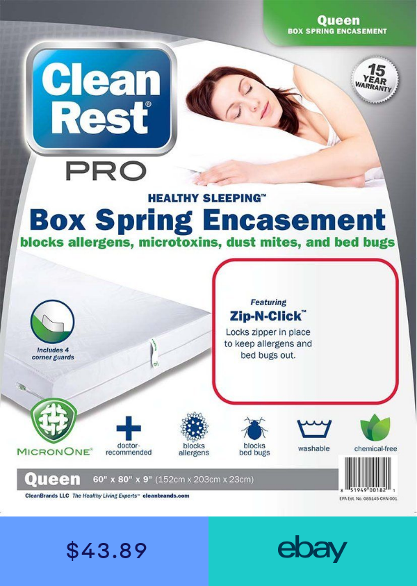 Pro Bed Bug Box Spring Encasement Cover Clean Rest