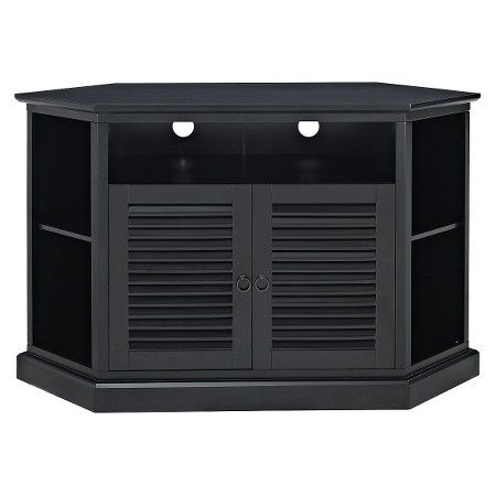 Corner Tv Stand With Louvered Doors Black 52 Walker Edison