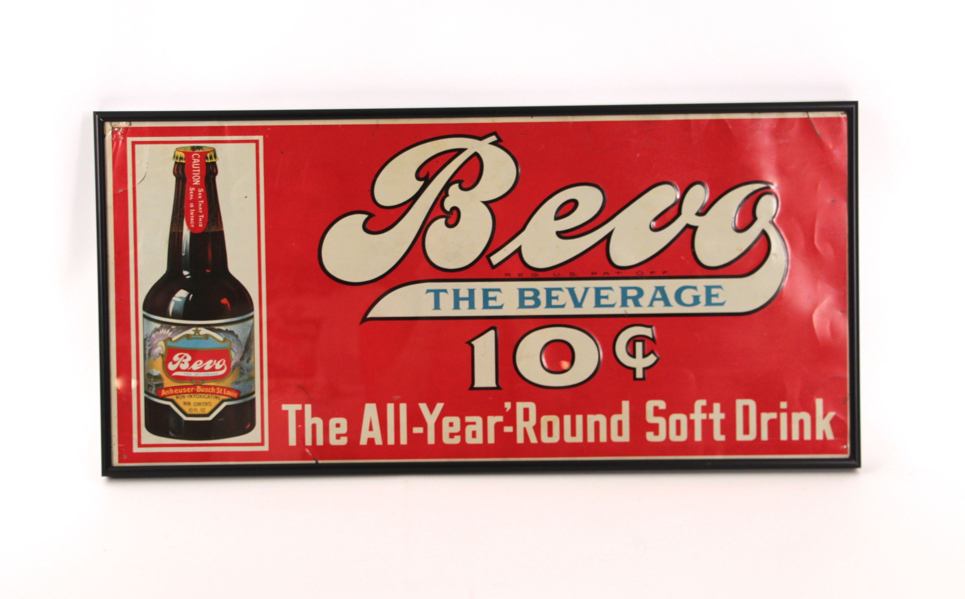 Anheuser Busch Bevo The All Year Round Beverage Soft Drink Tin Sign 1920 S The Antique Advertising Expert Soft Drinks Advertising Signs Beverages