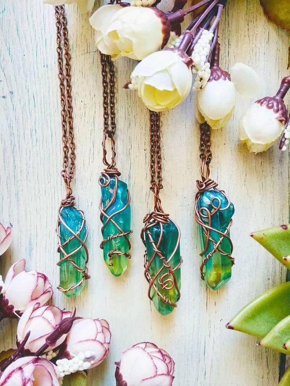 Galaxy Aura quartz necklace, Aura Quartz necklace, Blue Red Quartz necklace, Rainbow crystal necklace, valentine's gift #quartznecklace
