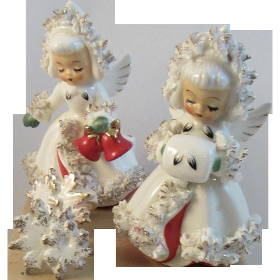 1960s Holt Howard Christmas Angel Candle Holders | Angel ...