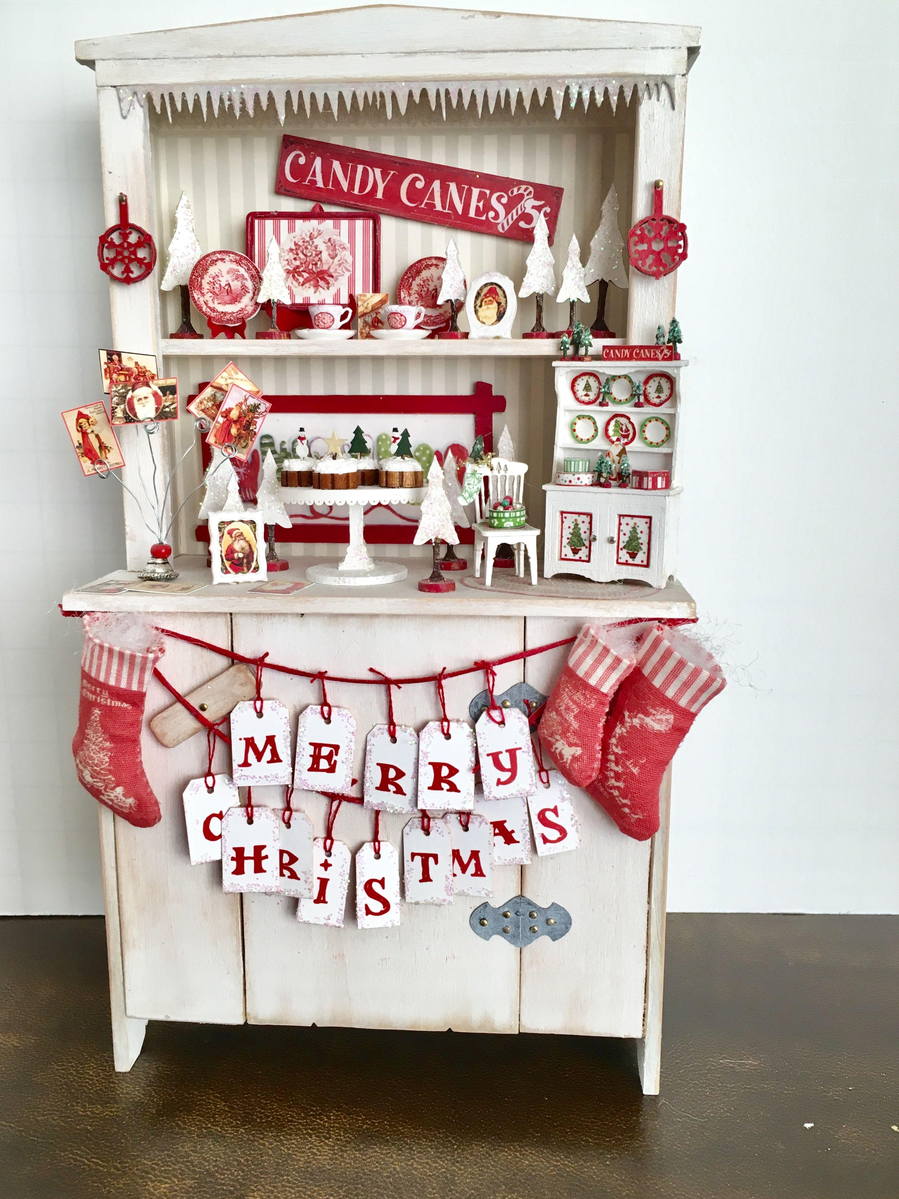 Christmas Dollhouse Miniatures.Dollhouse Miniature Christmas Hutch Miniatures Miniature