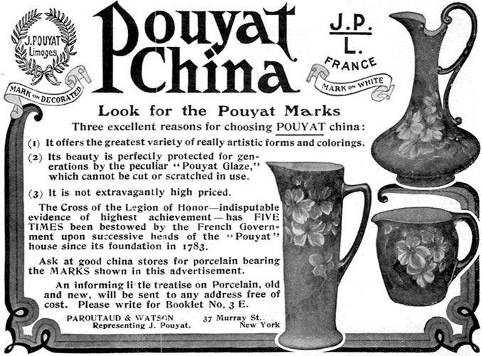 pouyat china marks an original magazine advertisement. Black Bedroom Furniture Sets. Home Design Ideas