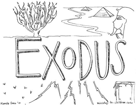 use this free printable coloring page to introduce children to the biblical book of exodus - Books Bible Coloring Pages