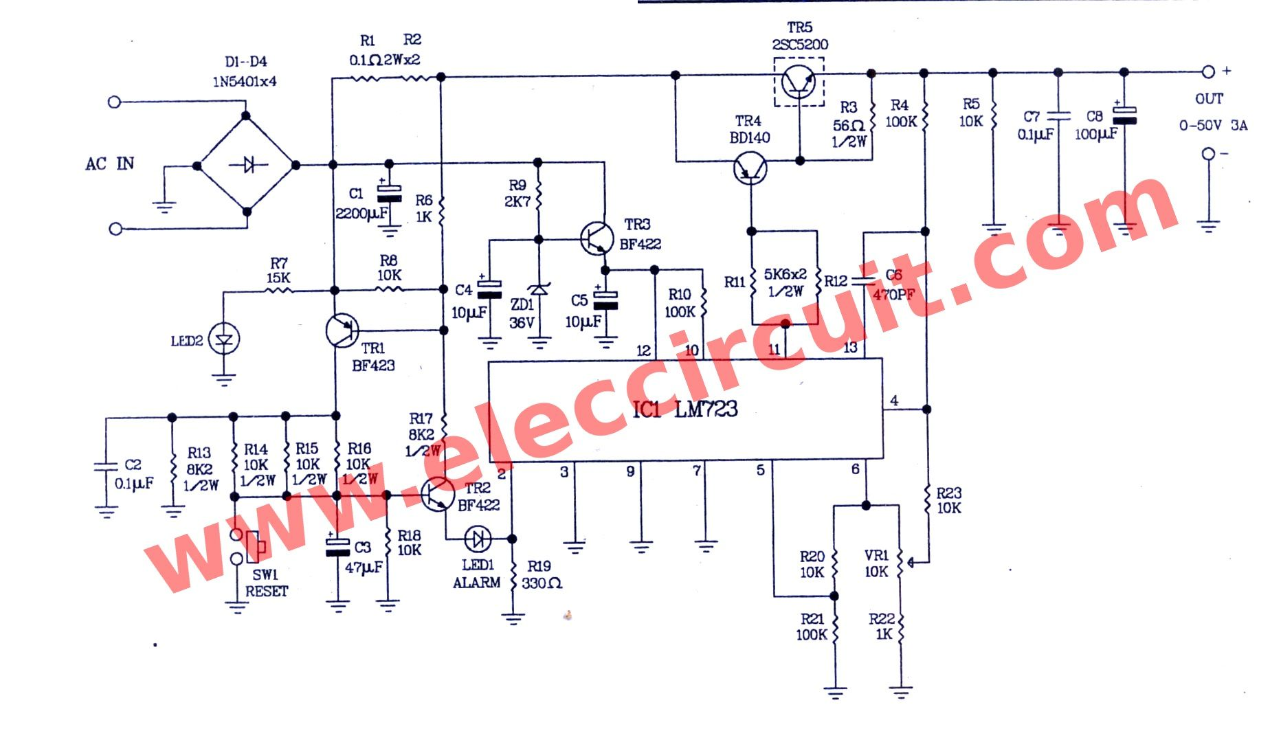 Component, 0 50v Variable Power Supply Circuit At 3a 100 Kv High ...