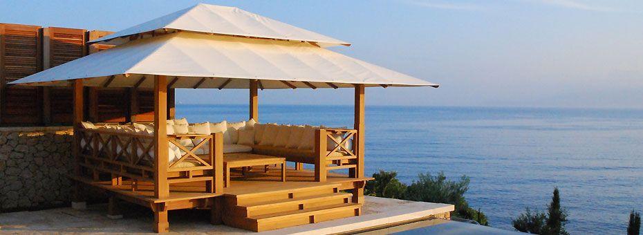 Coberti gazebo de madera con techo de lona bancos y mesa - Lonas para terrazas ...