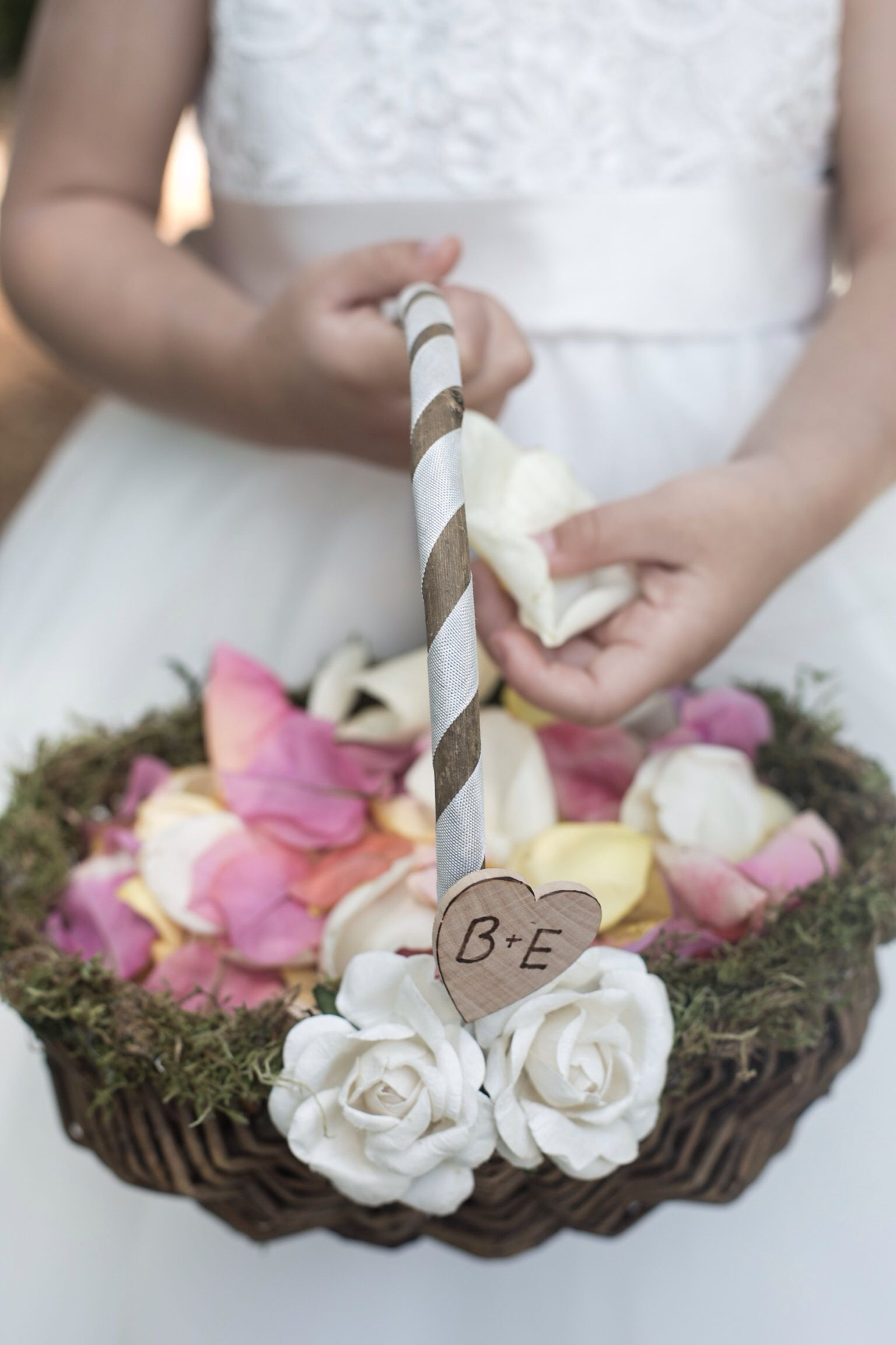 The Small Details On The Flower Girl Basket Make It That Much More