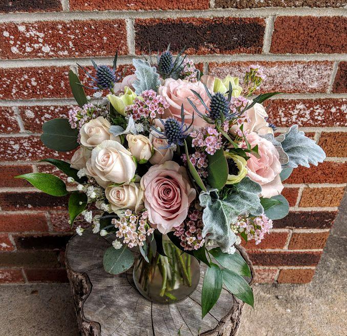 Blush And Blue Wedding Bouquet #harringtonflowers