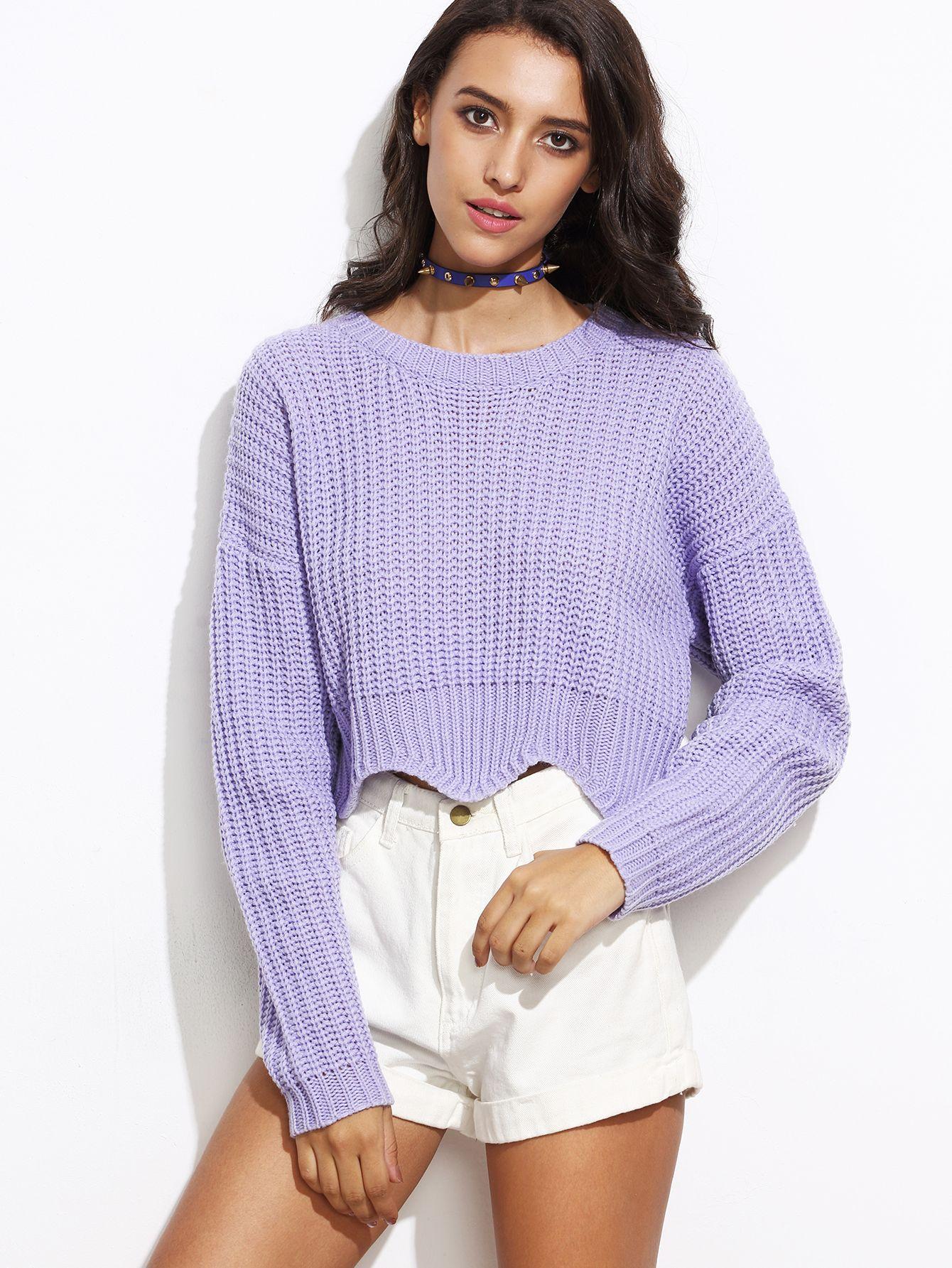 Purple Drop Shoulder Scallop Hem Crop Sweater | Scalloped hem ...