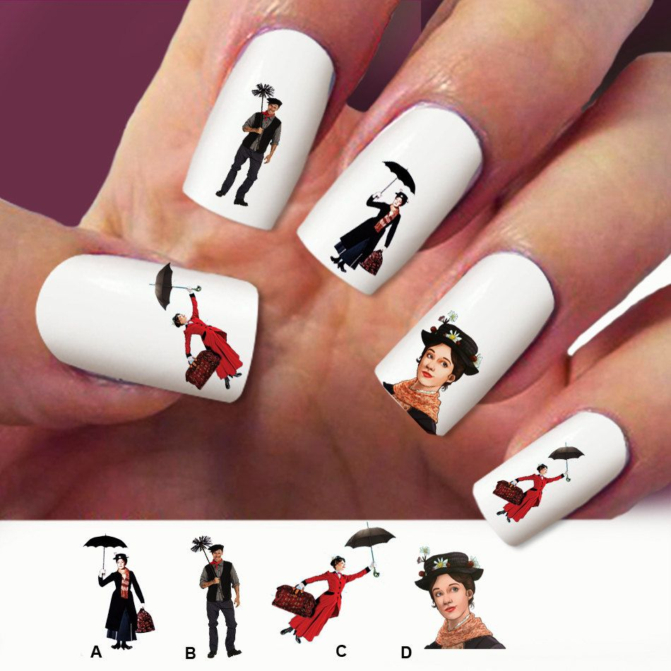 60 nail decals Mary Poppins Nail Art design Water by Marziaforever ...