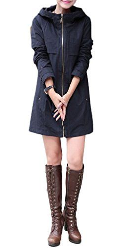 ZSHOW Womens Leisure Jackets Thin Loose Trench CoatsUS LargeAsian 3XL Navy >>> Continue to the product at the image link.