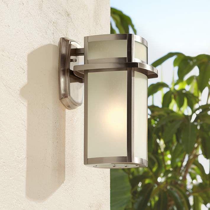 Delevan 11 1 4 High Brushed Nickel Outdoor Wall Light U1390 Lamps Plus Outdoor Wall Lighting Wall Lights Lamps Plus