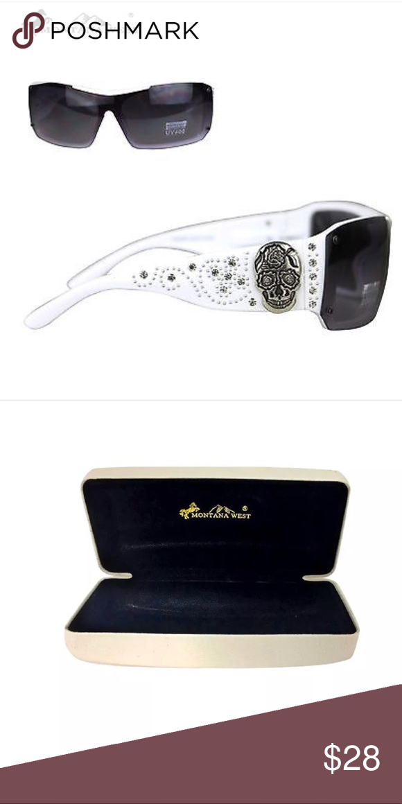 181a3307b68bc Montana West Sugar Skull Sunglasses White These Montana West sunglasses  have  Silver sugar skull concho