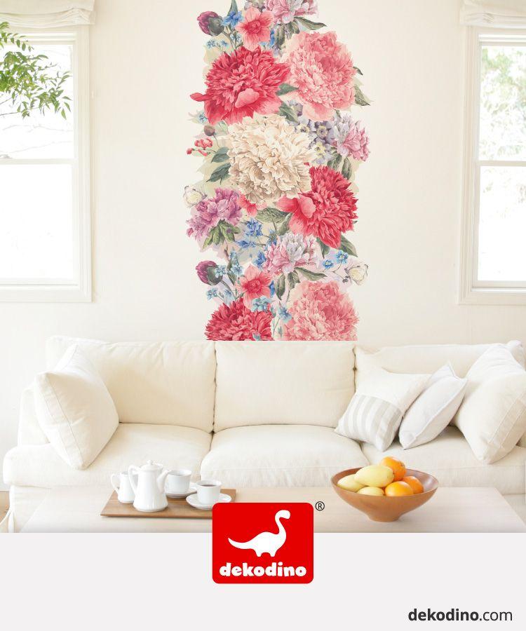 Wandtattoo Aquarell Blumen Wandbanner Wohnglück in rot