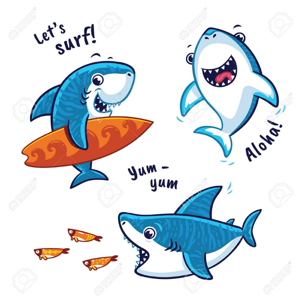 Conjunto De Personaje De Dibujos Animados De Tiburon Azul Aislado En El Fondo Blanco Tiburon Dibujo Animado Tiburon Animado Dibujo De Tiburon