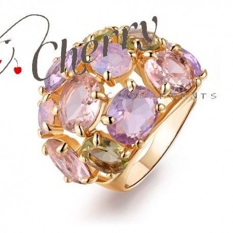 Anillo enchapado en oro amarillo con Cristales Swarovski elements exclusivo en Lady Cherry complements.