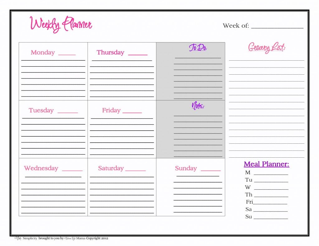 Free Weekly Planner Printable From Mom Simplicity  Planner Addict