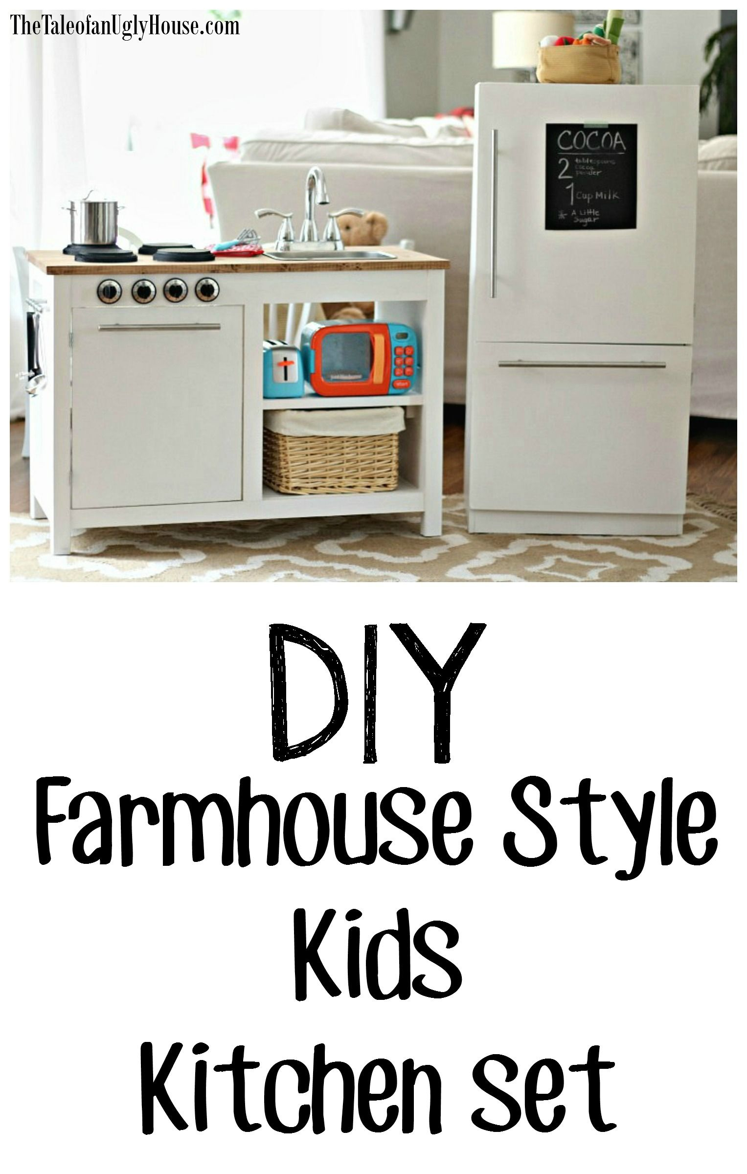 DIY Famhouse style kids play kitchen set. Free Plans | DIY ...
