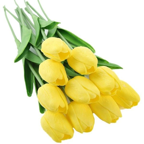 Justoyou 10pcs artificial real touch tulip mini faux flower bouquet 999 liked on polyvore featuring home home decor floral decor artificial bouquets faux flowers miniature silk flowers yellow silk flowers and mightylinksfo
