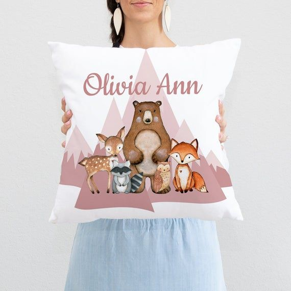 Woodland Throw Pillow Woodland Animals Pillow Woodland Nursery Decor Fox Nursery Decor Fox Room Deco