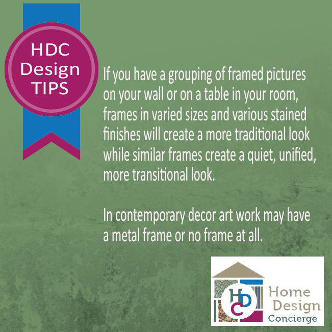 HDC Design Tip: Tips on grouping framed pictures.