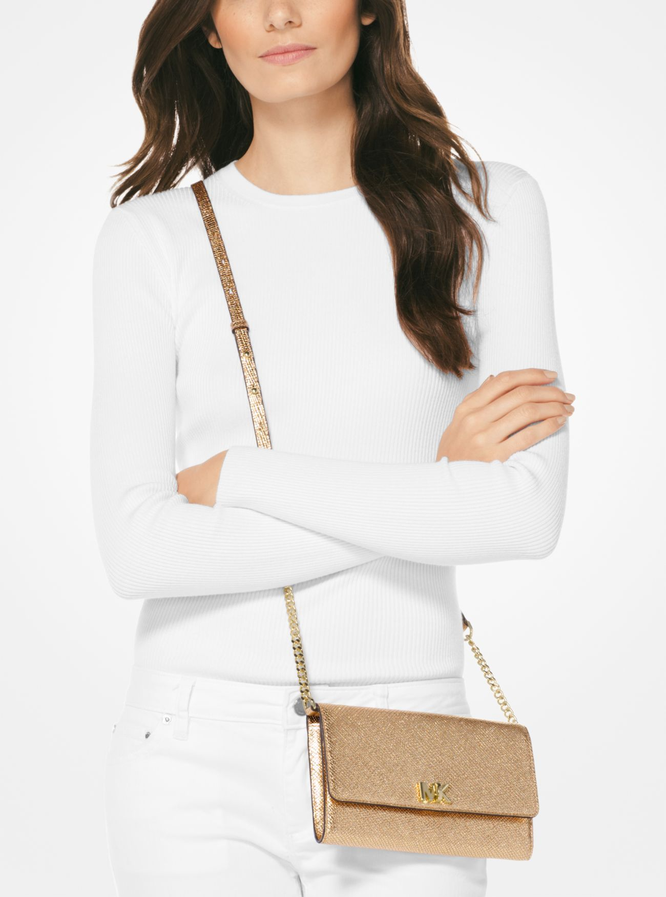 3a3f9a7f6db9 Mott Metallic Leather Crossbody