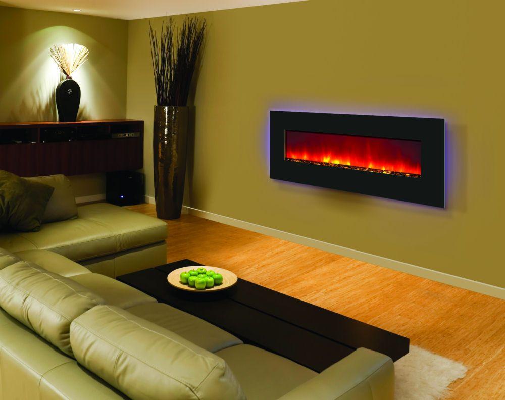 Amantii WM-BI-48-5823 electric fireplace in black glass; $1299.00 ...