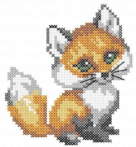 Photo of Cute little fox cross stitch stitch free embroidery design
