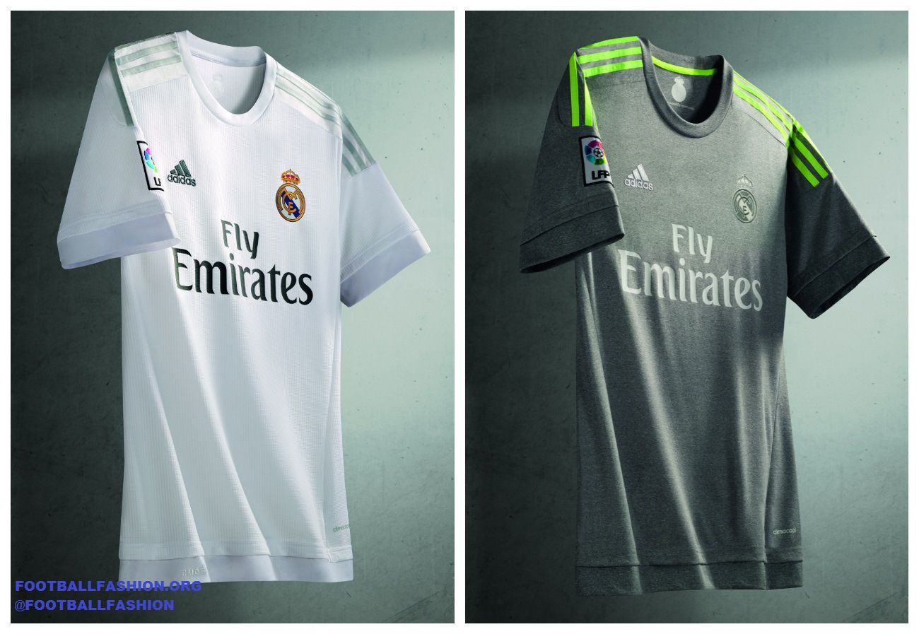 6e08f0f22 Real Madrid 2015 2016 adidas White Home and Gray Away Football Kit