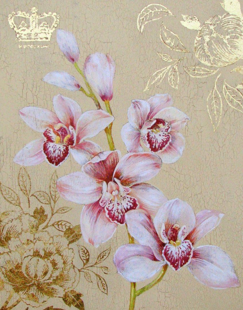 фон для декупажа с мелкими вензелями и орхидеями лианами тыс