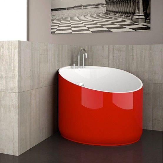 Cool mini bathtub of fiberglass for small spaces glass - Small tubs for small spaces ...