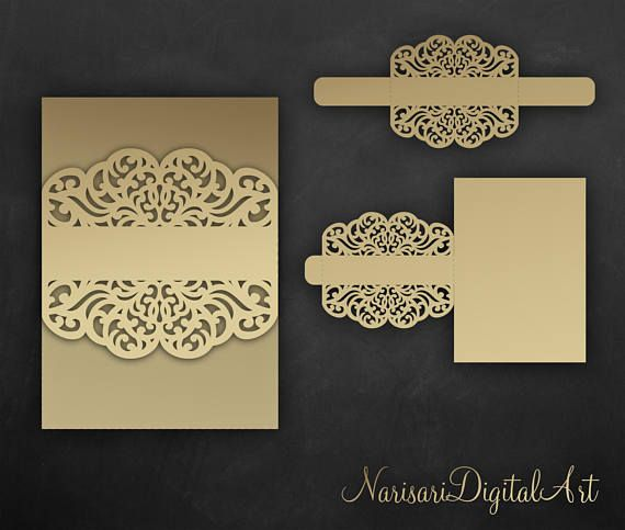 Belly band Wedding Invitation vector file. Laser cut Template, wrap ...