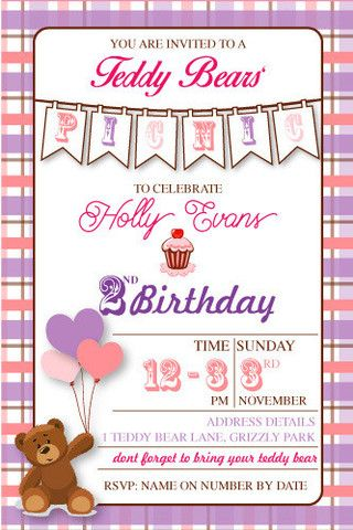 Teddy Bears Picnic Birthday Digital Printable Invitation Template