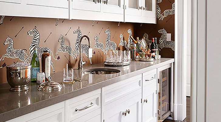 Yes You Can Use Wallpaper As A Kitchen Backsplash Contemporary Kitchen Backsplash Wallpaper Backsplash Kitchen Kitchen Wallpaper