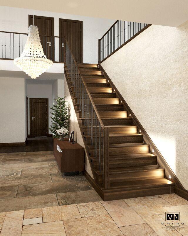 Balkon W Domu Jednorodzinnym: Podświetlane Drewniane Schody W Domu Jednorodzinnym