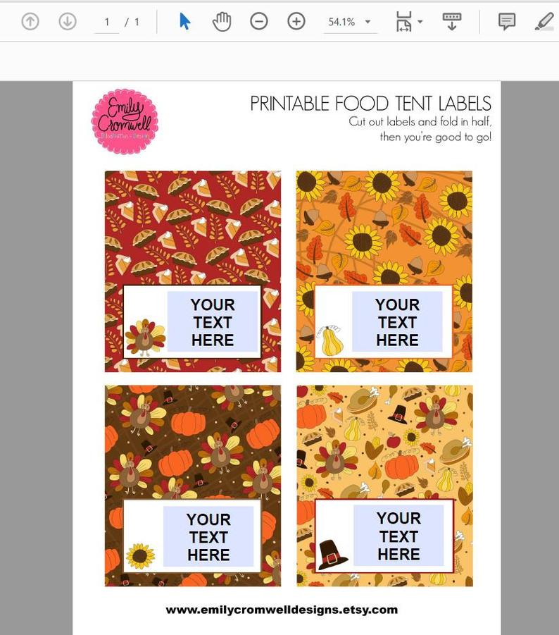 Thanksgiving Printable Food Tent Label Cards Thanksgiving