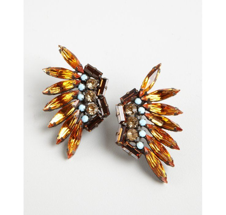 Joanna Laura Constantine gold plate Swarovski Crystal wing earrings